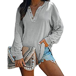 Women's Casual Solid Button Front  V Neck Long Sleeve Loose Sweatshir...