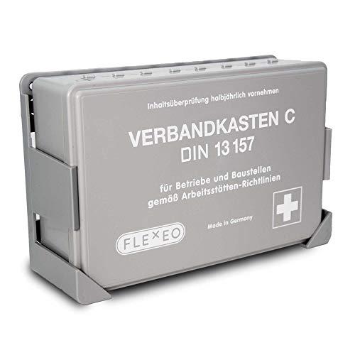 Betriebsverbandkasten DIN 13157 gefüllt für Betrieb grau mit Wandhalterung (gemäß ASR) Verbandskasten Erste-Hilfe Kasten Koffer FLEXEO Wandmontage
