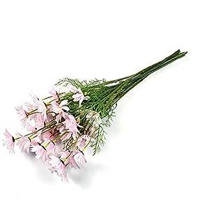 Silk Flower Arrangements Aimili 10Pcs Artificial Flower Decoration, 5 Dutch Chrysanthemum Simulation Cosmos Wedding Home Photography Decoration Props, Living Room Decoration Artificial Flowers,Pink