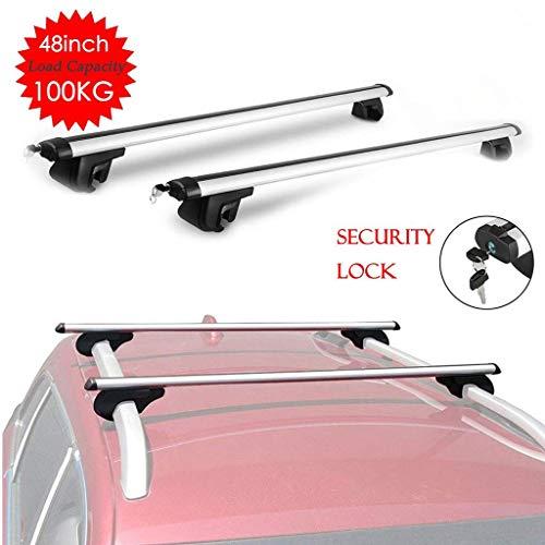 JJSFJH Rack for asientos Barras de techo Techo de aluminio for automóviles Diseño antirrobo Portaequipajes con cerradura for automóviles con rieles laterales Capacidad de 100 kg