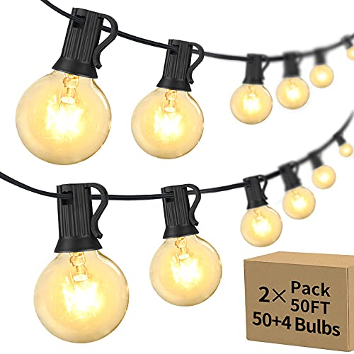 Outdoor String Lights 100FT 2 Pack G40 Globe Patio Lights with 54 Edison Glass Bulbs(4 Spare), Commercial Grade Weatherproof Hanging Lights String for Outside Backyard Porch Party Decor