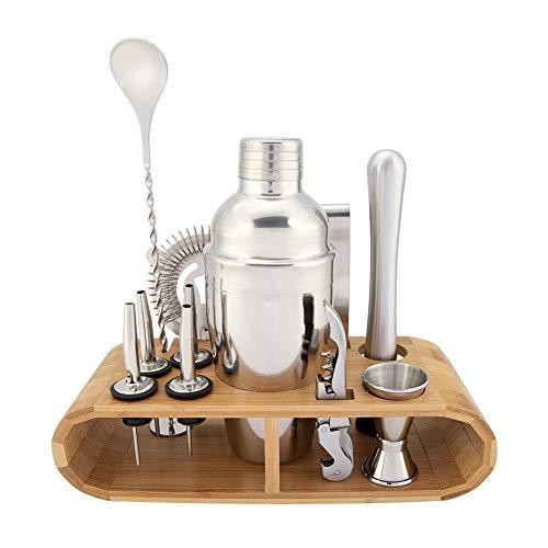 Rockyin 11 Stück Set Edelstahl Cocktail Shaker Mixer Getränk Barkeeper Martini Werkzeuge Bar Kit