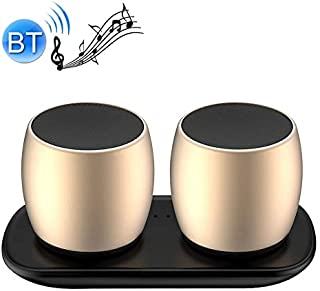 Mini Portable Stereo Speaker Sardine F1 Aluminium Alloy Stereo Wireless Bluetooth Speaker with Charging Dock, Support Hands-Free (Black) (Color : Gold)