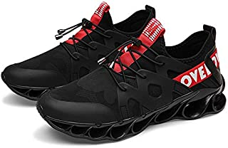2019 New Men's Shoes Fire Dragon Blade Warrior Tide Shoes Male Students Fly Woven Running Casual Sports Shoes (Color : Black red, Size : 44)