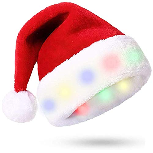 Christmas Hat, Santa Hat with 8 LED Lights Unisex Soft Plush Faux Fur Santa Hats Extra Thicken Santa Hats Adult for Christmas Decorations and Holiday Party -Colorful Lights