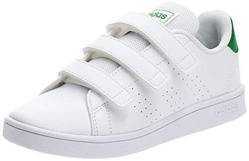 adidas Advantage C, Scarpe da Tennis, Bianco (Ftwr White/Green/Grey Two F17), 28 EU
