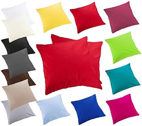 Moon 2er Pack Luxury Linon Kissenbezug Kissenhülle mit Reißverschluß100% Baumwolle (rot, 40x40)