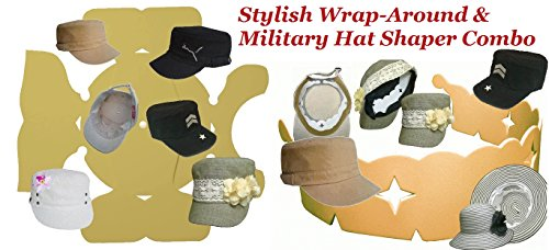 1Pk. Blk. Deluxe Stylish Wrap-Around & Military Hat Shaper Combo| Hat Storage aide| Hat Liner