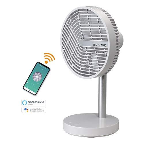 Bimar Air Sonic - Ventilador inteligente con WiFi y App, control de voz Alexa y Google Home, silencioso, portátil, potente, inalámbrico, USB, batería de litio recargable, 4 velocidades