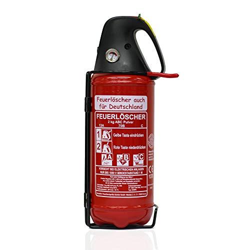 Premium Autofeuerlöscher 2kg Pulverlöscher Feuerlöscher, LKW PKW Motorrad KFZ DIN EN 3 Manometer Halterung ABC 4LE (Ohne Prüfnachweis u. Jahresmarke)