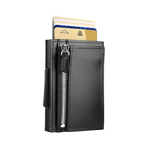 Ögon Smart Wallets - Cascade Slim Wallet - Cartera automática de aluminio y piel con bolsillo para monedas - Tarjetero RFID - 8 tarjetas y billetes - Cuero Negro / Aluminio Negro
