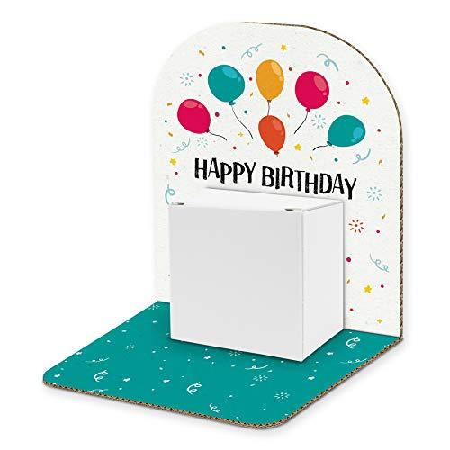 itenga Geldgeschenk Basic I Motiv Luftballons/Happy Birthday I Mitbringsel I Gutschein I Geschenkverpackung zum Aufstellen inkl. Geschenkbox