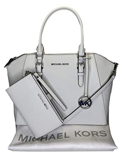 MICHAEL Michael Kors Ciara Large TZ Satchel bundled with Jet Set Double Zip Wristlet/Wallet (Optic White)