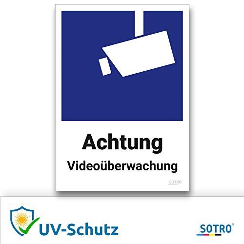 Videoüberwachung Aufkleber und Symbol, DIN 33450, 10x14cm, Schild Videoüberwacht Warnhinweis Kameraüberwachung, Wetterfest, Selbstklebend für Innen und Außen, Achtung Videoüberwachung, 5 Stück