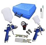 2 x HVLP Lackierpistole Spritzpistole 1,4mm/0,8mm Set Koffer Manometer, Werkzeug und 2 Becher für Autolack und Airbrush