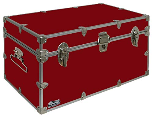 C&N Footlockers UnderGrad Storage Trunk - College Dorm Chest - Durable with Lid Stay - 32 x 18 x 16.5 Inches (Red)