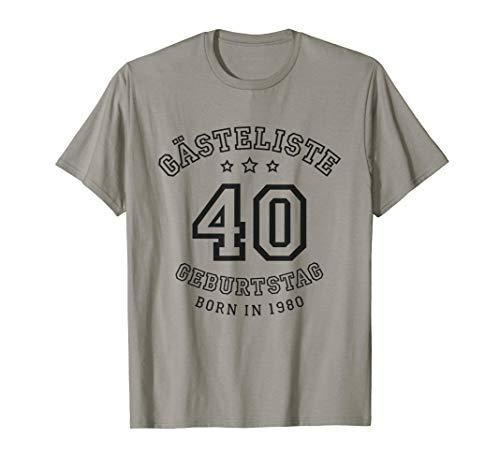 Gästeliste 40. Geburtstag 1980 Gästebuch in Trikot-Schrift T-Shirt