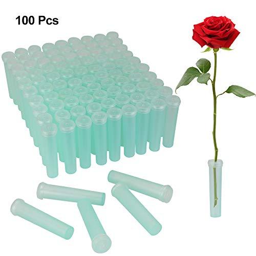 Kbnian 100 Stück Blumen Wasserröhrchen kunststoffrohr transparent Blume Rohr für Hochzeit, Party, ereignis oder Geschenk von frischen Blumen(7 cm)