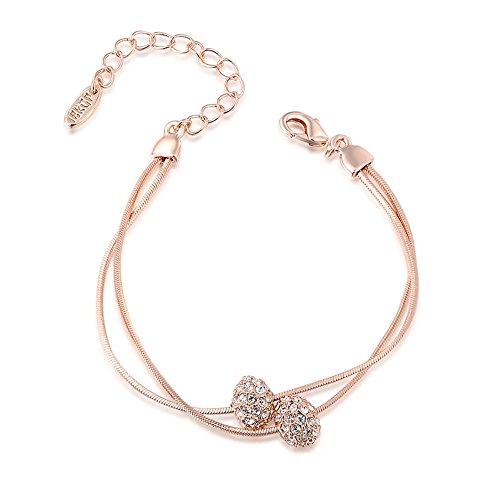George Smith cristalli austriaci perline rosa oro argento a doppio filo corda catena bracciale per donne ragazza