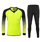 HGYJ Futbol Goalkeeper Jersey,Uniforme de Portero de Fútbol para Adultos y Niños, Diseño Engrosado de Pecho y Rodilla, protección anticolisión Unisexo,Yellow,S