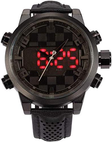 Sportuhr Leder Paket Digital Shark Sport Uhr Wasserdicht Dual Time Oversized LED Kalender Alarm Männer Quarzuhr