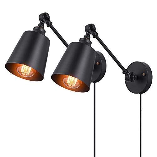 Vintage Wandlampe Schwarz Metall Wandleuchte Nachttischlampe mit Schalter und Kabel 1,5 m, Industrial Verstellbare Wandleuchte Schlafzimmerlampe, E27 Wand Leseleuchte für Wohnzimmer Küche,2Pack