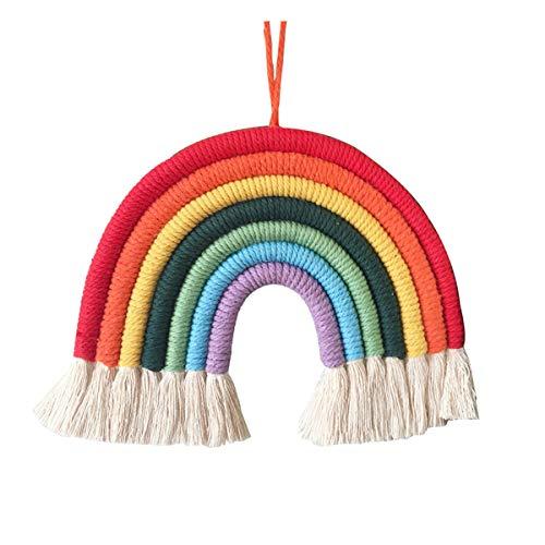 Arco iris para colgar en la pared, guirnalda con borlas de arcoíris, decoración de pared para niños, guardería, habitación de niña, decoración del hogar
