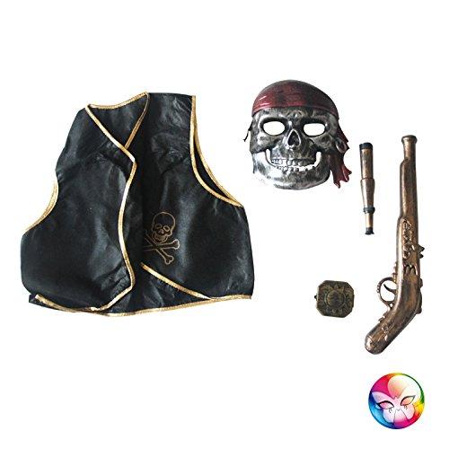 Aec–ac2151–Set Pirata 5Pieces: máscara Pistola Chaleco compás Longue vue