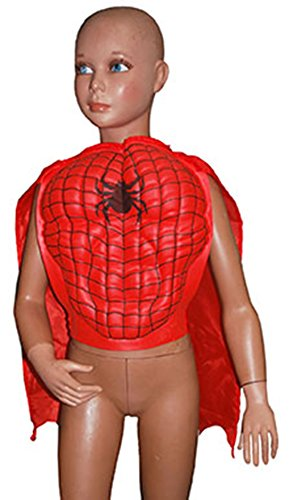 Déguisement Fete – Spiderman poitrine Char Cape Ventre araignée Super Héros, 98–116, 3–6 ans, rouge