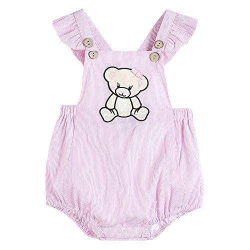 Lil Cactus Baby & Toddler Girls Cross-Back Flutter-Sleeve One Piece Bubble Romper, Pink Striped Teddy Bear, 18-24 Months