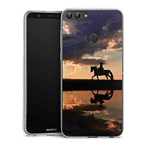 DeinDesign Glitzer Hülle kompatibel mit Huawei P smart (2018) Silikon Case Glänzend Schutzhülle Pferd Horse Sonnenuntergang