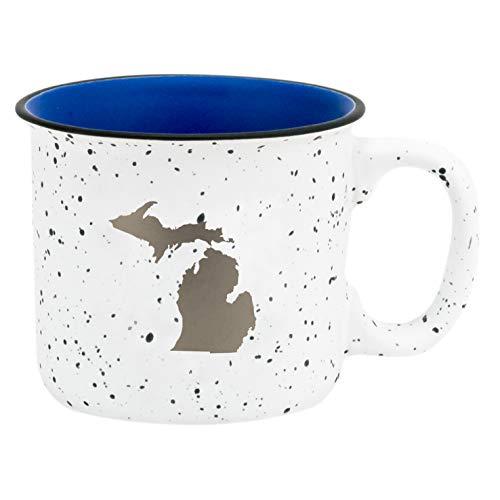 Michigan Silhouette In Silvertone 13.5 oz Ceramic Mug