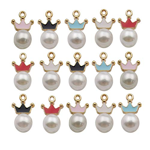 YoudiylaUK 40pcs Assorted Enamel Gold Plated Crown Pearl Dainty Dangle Charm for Jewellery Making Necklace Bracelet Ankle Earring DIY Findings WM342