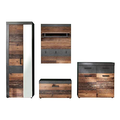 trendteam smart living Garderobe 4-teilige Set Kombination Indy, 265 x 192 x 37 cm Front Old Wood, Korpus und Absetzung Graphit Grau Matera mit viel Stauraum