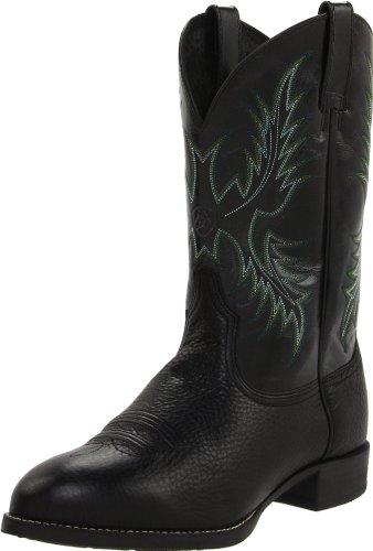Ariat Men's Heritage Stockman Western Cowboy Boot, Black Deertan/Shiny Black, 8.5 2E US
