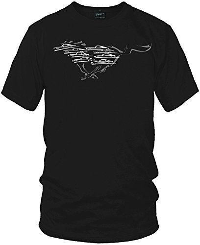 Mustang Shirt,Mustang Silhouettes all years - Wicked Metal, Black, Large