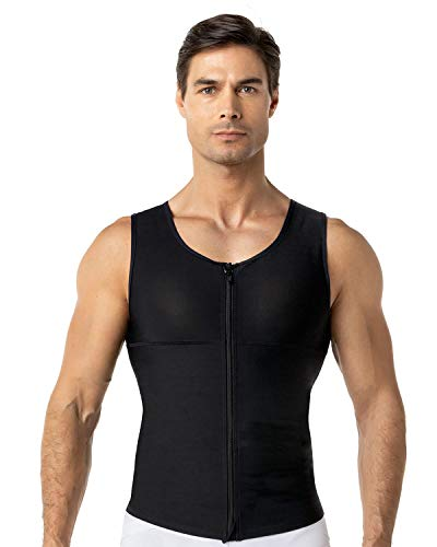Leo Mens Abs Slimming Body Shaper with Back Support,Black,Large