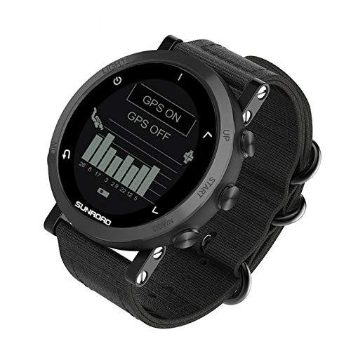 xiaoxioaguo Reloj inteligente GPS con altímetro, barómetro, brújula, podómetro, correr, reloj digital para hombre