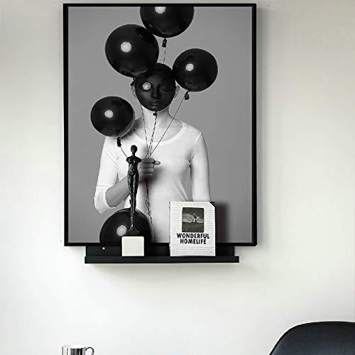 wZUN Blanco y Negro Sexy Belleza sosteniendo Globos Lienzo Pintura Carteles Impresiones decoración de Bares Pintura Cuadros creativos 60x80 Sin Marco