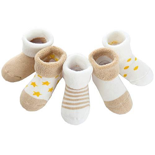 Z-Chen 5er Pack Baby Baumwolle Thermo-Socken, Beige, 0-6 Monate
