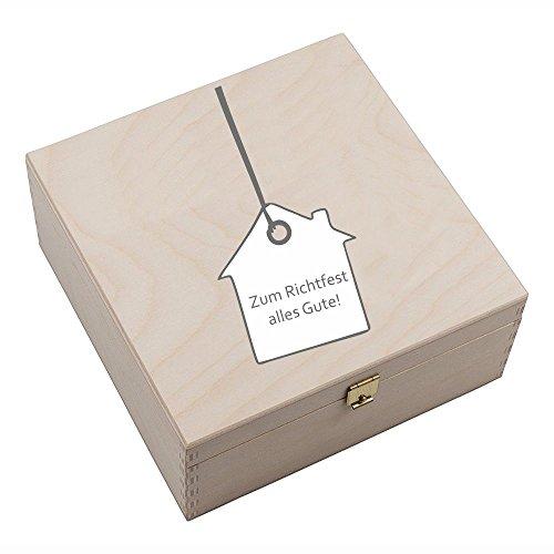 4youDesign Hufeisen-Box mit Motiv Zum Richtfest Alles Gute (mit Hausanhänger) Geschenkidee Hausbau Glücksgeschenk