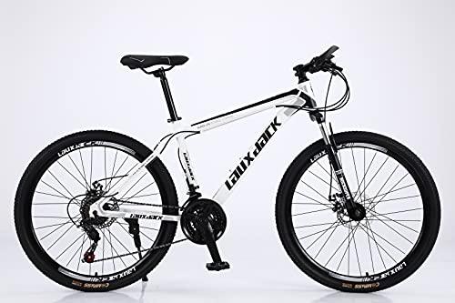 Lauxjack Fahrrad Herren, Damen, und Jungen, in 26 Zoll & 28 Zoll, Shimano 21 Gang, Kettenschaltung, Mountainbike, Weiß-Schwarz (26 Zoll)…