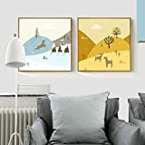 N / A Warm Winter and Autumn Reindeer Snow Mountain Canvas for Porch Sofa Background Home Decoration Painting Frameless 60x60cm