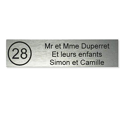 Plaque boite aux lettres NUMERO format Decayeux (100x25mm) gris argent lettres noires - 3 lignes - Plastique - 2,5