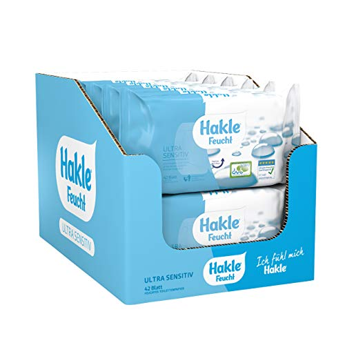 Hakle feuchtes Toilettenpapier Ultra Sensitiv, 504 Tücher (12 x 42 Stück), pflegendes feuchtes Toilettenpapier, hautverträgliche feuchte Tücher, schnell wasserlösliche Feuchttücher