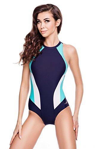 Aqua Speed® NINA Badeanzug | Damen | Einteiler | 36-44 | Leicht | Elastisch | Dehnbar | UV-Schutz | Chlorbeständig, Größe:38, Farbe:Farbe 42 Navy/Turquoise/White