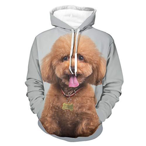 Harberry Sudadera con capucha para hombre, diseño de perro con capucha de poliéster, color blanco 5xl
