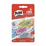 Pritt Micro Roller, Correttore a nastro per correggere gli errori, Bianchetto a nastro antimacchia mini, Correttore dal design colorato in blu, verde e rosa, Confezione da 3 (5mmx6m)