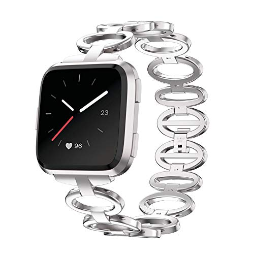 XIALEY Armband Für Fitbit Versa 2 / Fitbit Versa Edelstahl Armbänder Frauen Mädchen Metallschlaufe Uhrenarmband Ersatz Sportarmband,Silber