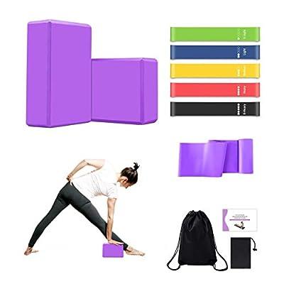 MIZIKUSON Yoga Blocks 2 Pack with Strap, 5 Work...